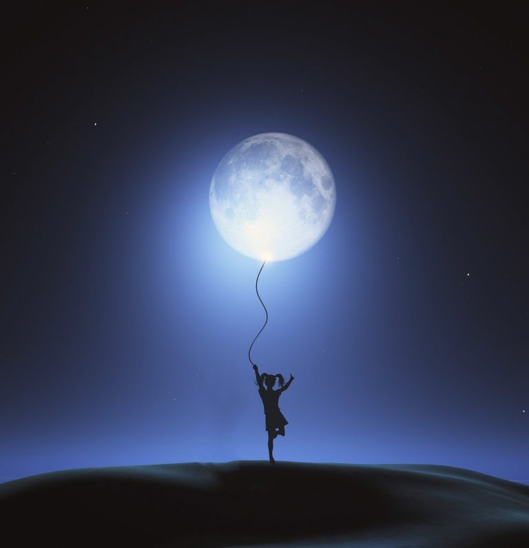 child, moon, night